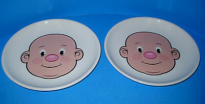 "Plays With His Food FRED Porcelain Plates 8 1/4"" Jason Amendolara Lot of 2"