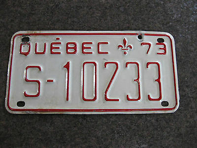 Quebec Snowmobile Licence Plate 1973