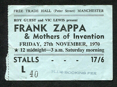 1970 Mothers of Invention Zappa concert ticket stub Manchester UK Uncle Meat