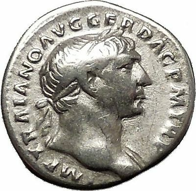 TRAJAN 103AD Authentic Ancient Silver  Roman Coin  Spes Hope i53337