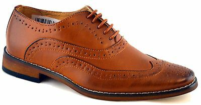 Boys Leather Lined Lace Up Wedding Smart Brogues Tan Formal Shoes Size 10-5