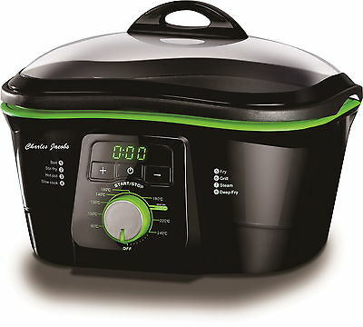 Electric Non-Stick 8 IN 1 MULTI COOKER IN BLACK & GREEN 1500W 5L Charles Jacobs