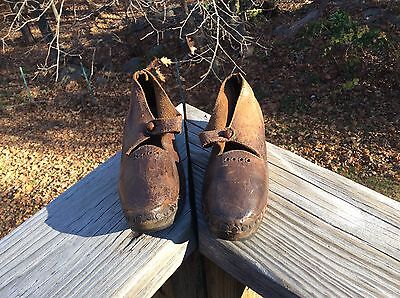Antique Vintage Early Victorian 1800 English Child Leather Wood Lancashire Clogs
