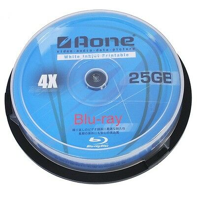 10 AONE BLURAY BLU-RAY FULL FACE PRINTABLE BLANK DISCS 25GB 4x BD-R