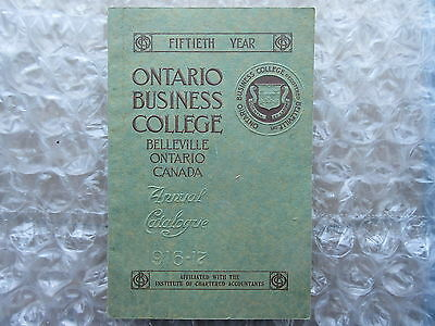 Old 1916-17 Ontario Business College Annual Catalogue Belleville ON