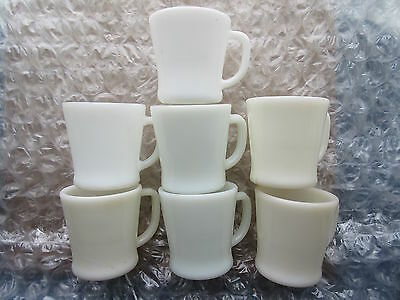 Old Retro Set of 7 Fire King Milk Glass Coffee Mugs