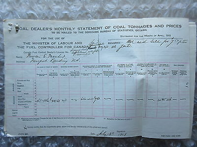 Old 1918 Canada Statements of Coal Tonnages & Prices Forums