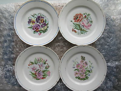 Set of 4 Early Antique Handpainted Botanical Porcelain Plates
