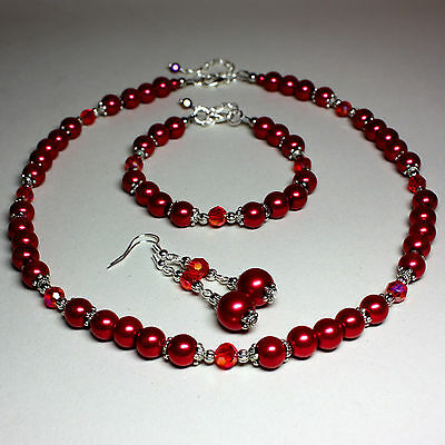 Red pearls crystals collar necklace bracelet long earrings silver jewellery set