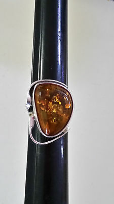 Poland Artisan 925 Sterling Silver Genuine Baltic Amber Ring Size 8 1/2""