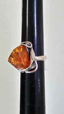 Poland Artisan 925 Sterling Silver Genuine Cognac Baltic Amber Ring Size 7 1/2