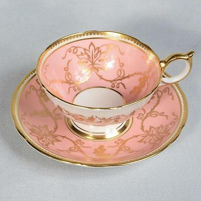Aynsley Teacup & Saucer - Pink/white Decorated With Gilded Grapes & Vines