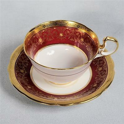 Vintage Aynsley Teacup & Saucer - Deep Red/white Heavily Gilded & Beaded Designs