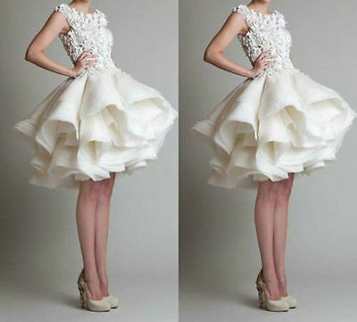 2016 Stock New Ivory/ White Short Wedding Dress Bridal Gown Size 6 8 10 12 14 16