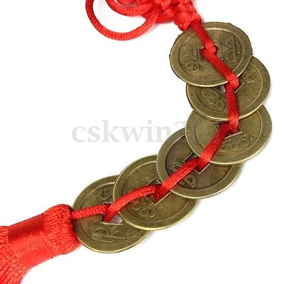 Chinese Feng Shui Protection Fortune Lucky Charm Red Tassel String Tied Coins
