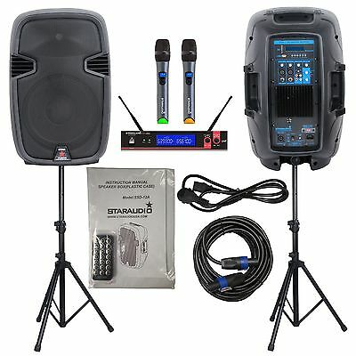 "STARAUDIO Dual 12"" 2000W PA Powered Active DJ Speakers BT Stands Cable Microphon"
