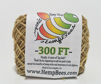 Organic Hemp Wick Line  300 FT 1 mm BEST DEAL W/TRACKING - HB hempwick