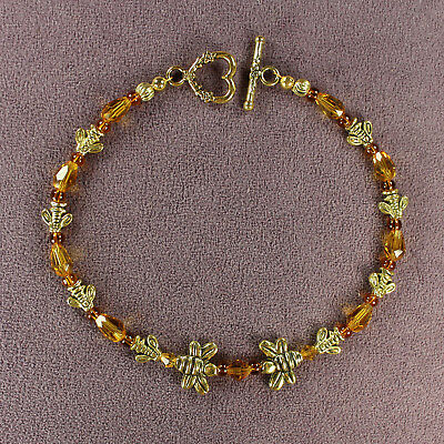 BUMBLE HONEY BEE SWARM ANKLET Totem Queen Goddess Beads Gold Insect Magick