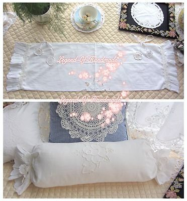 Lovely~Taped Cutwork Candy Pillow Cover Neck Roll Pillow Case~White~Cotton~