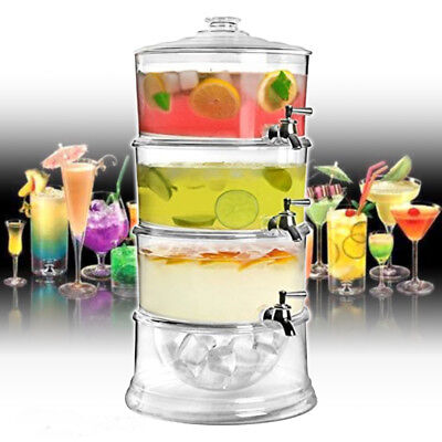 12 Ltr 3 Tier Acrylic Beverage Drink Cocktail Dispenser Ice Storage Chamber Base