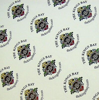 "Full Color Labels Custom Printed 1"" Round 1000 Business Stickers White Removable"