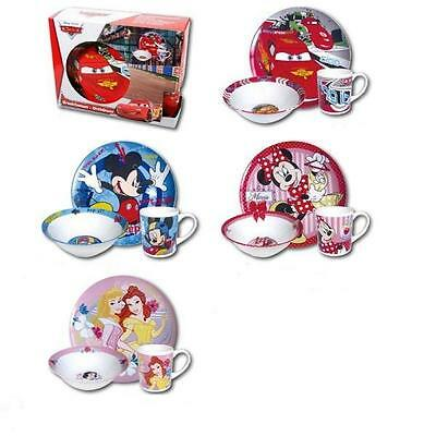 Kids Disney Breakfast 3 Piece Ceramic Plate Bowl Mug Children's Dinner Sets NEW