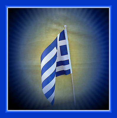 GREEK BLESSED NATIONAL ETHNIC FLAG with FLAGPOLE Greek original not Chinese