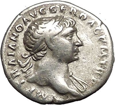 TRAJAN 103AD Authentic Ancient Silver  Roman Coin  Spes Hope i53341