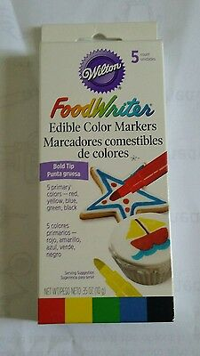 Wilton Food Writer Edible Primary Color Bold Tip Markers----5 Count---Nib