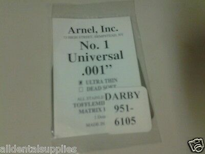 Dental Stainless Steel Tofflemire Matrix Bands #1 .001 Ultra Thin Bag of 12