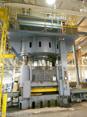 "3,500 Ton Lake Erie 4 Post Hydraulic Press 30""Stroke Rubber Pad 120"" x 96"" Bed"