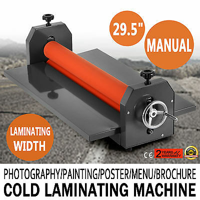 "New 750mm 29.5"" Cold Laminator Roll Laminating Machine 4 Roller Manual"