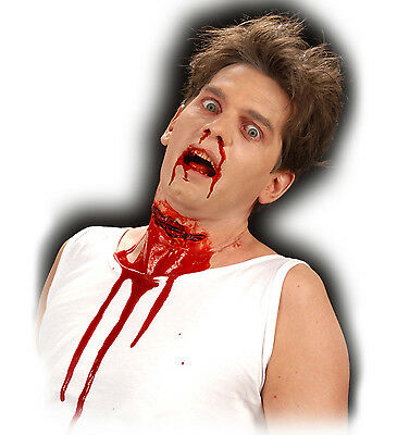 Halloween Horror Special Effect Make Up Slashed Throat Zombie FREE TUBE OF BLOOD