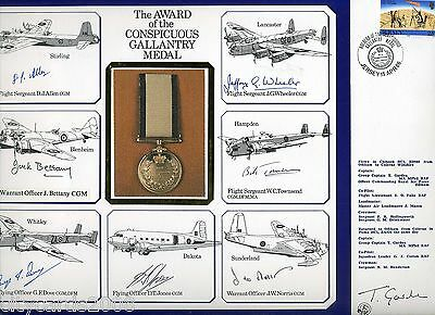1986 Conspicuous Gallantry Medal   RAF Large Cover signed 7 Recipients