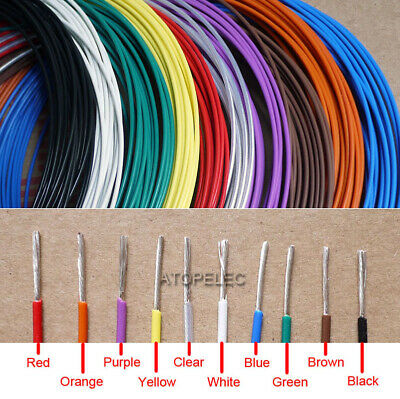 1M/5M PTFE FEP Silver Plated OFC Wire 300V Cable 30/24/20/17/15/13/10 AWG