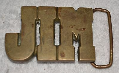 "SOLID Brass Belt Buckle  ""JIM"" numbered NAME JIM"