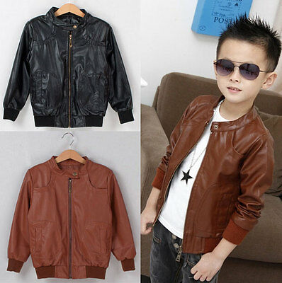 Kids Boys Girl Clothes Zipper Jacket Synthetic Leather Coat Outerwear Sz3-8Y