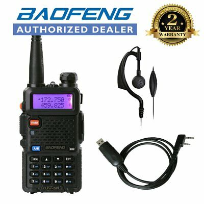 BAOFENG UV-5R Black 136-174/400-520Mhz FM Ham Radio + Programming USB Cable UK