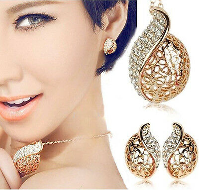 Women's 18K Gold Plated Hollow Leaf Crystal Ear Necklace Set Jewelry Earrings D