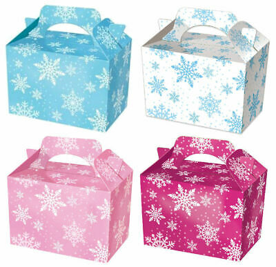 10 Snowflake Party Boxes - Choose From 4 Colours - Food Lunch Cardboard Frozen G