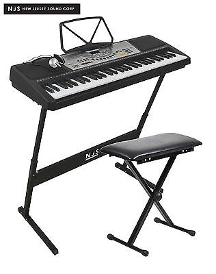 NJS 61 Key Full Size Electronic Keyboard, Sheet Music Stand, Headphones, Stool