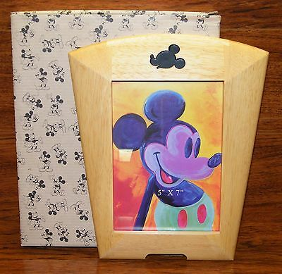 "Disneys Mickey Mouse Natural Finish Wood Art ""5x7"" Deco Picture Frame NEW IN BOX"