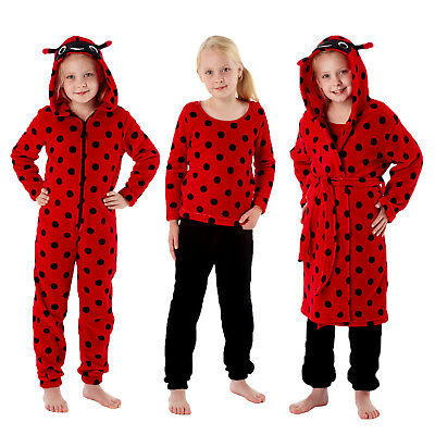 Girls Nightwear New Ladybird Print Pyjama Set Bath Robe Or All In One Loungewear