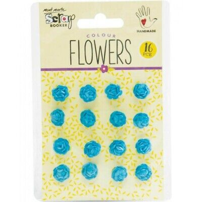 Mont Marte Scrapbooking Flowers - Micro Roses Blue 16pce For Scrapbook Craft