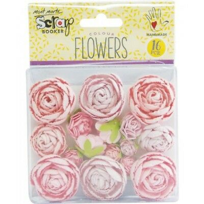 Mont Marte Scrapbooking Flowers - English Roses Small Pink 16pce For Scrapbook C