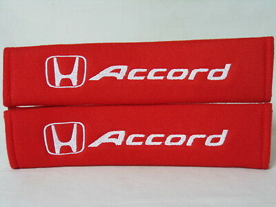 Embroidery Hot Red Seat Belt Cover Shoulder Pads Pair with Honda Accord ~ L@@K!!