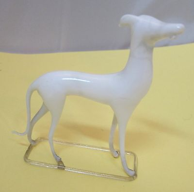 ANTIQUE  MILK WHITE MOUTH BLOWN GLASS DOG W Tongue Grey Hound  on STAND D3