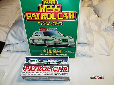 1993 Hess Toy  Truck Patrol Car Station Window Sign