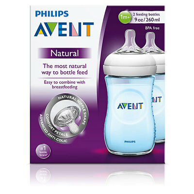 NEW Avent Baby Feeding Bottle Natural Pack of 2 Blue 260ml Feeding Bottles