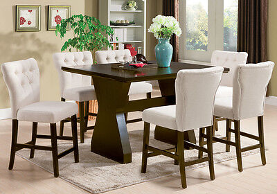Effie 7 Pc Counter Height Dining Set Rectangular Table Beige Linen Tufted  Chairs